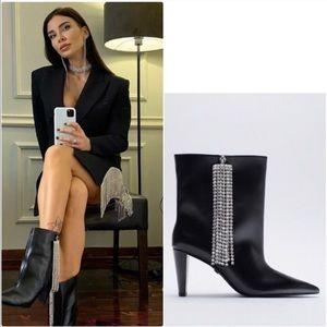 ZARA Leather Ankle Boots w/ Rhinestone Fringe